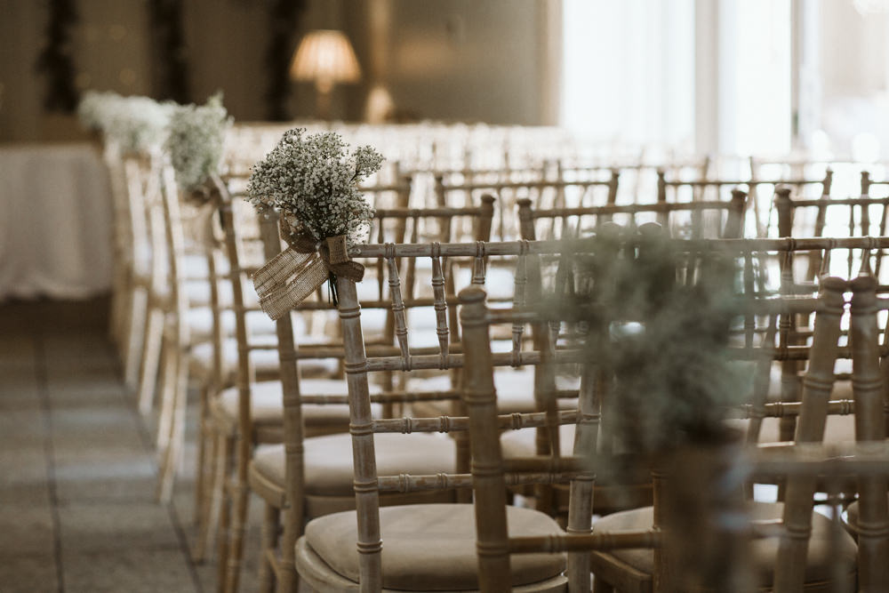 Travel Wine Inspired Rustic Outdoor Natural Farm Field Ceremony Aisle Chiavari Chairs Gypsophila | Farbridge Barn Wedding Jamie Dunn Photography