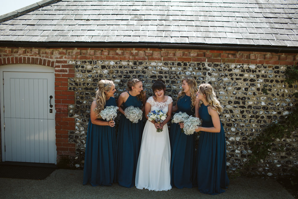 Travel Wine Inspired Rustic Outdoor Natural Farm Field Bride Bridesmaids Navy Dresses White Bouquets | Farbridge Barn Wedding Jamie Dunn Photography