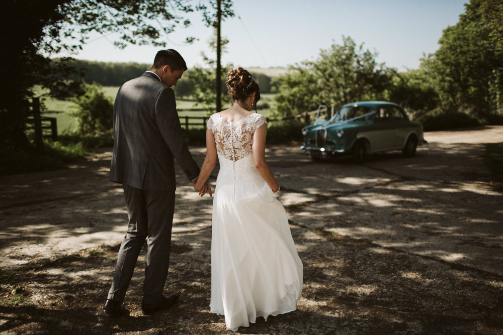 Travel Wine Inspired Rustic Outdoor Natural Farm Field Countryside Bride Groom Abandoned Dairy Farm Quirky Portraits Classic Car | Farbridge Barn Wedding Jamie Dunn Photography
