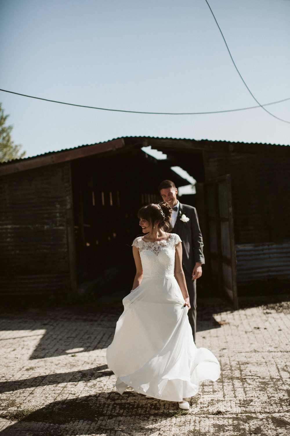 Travel Wine Inspired Rustic Outdoor Natural Farm Field Countryside Bride Groom Abandoned Dairy Farm Quirky Portraits | Farbridge Barn Wedding Jamie Dunn Photography