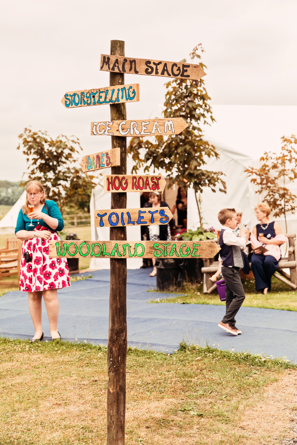 Wooden Signpost Directions Handpainted Festival Wedding Mismatched Country Camilla Lucinda Photography