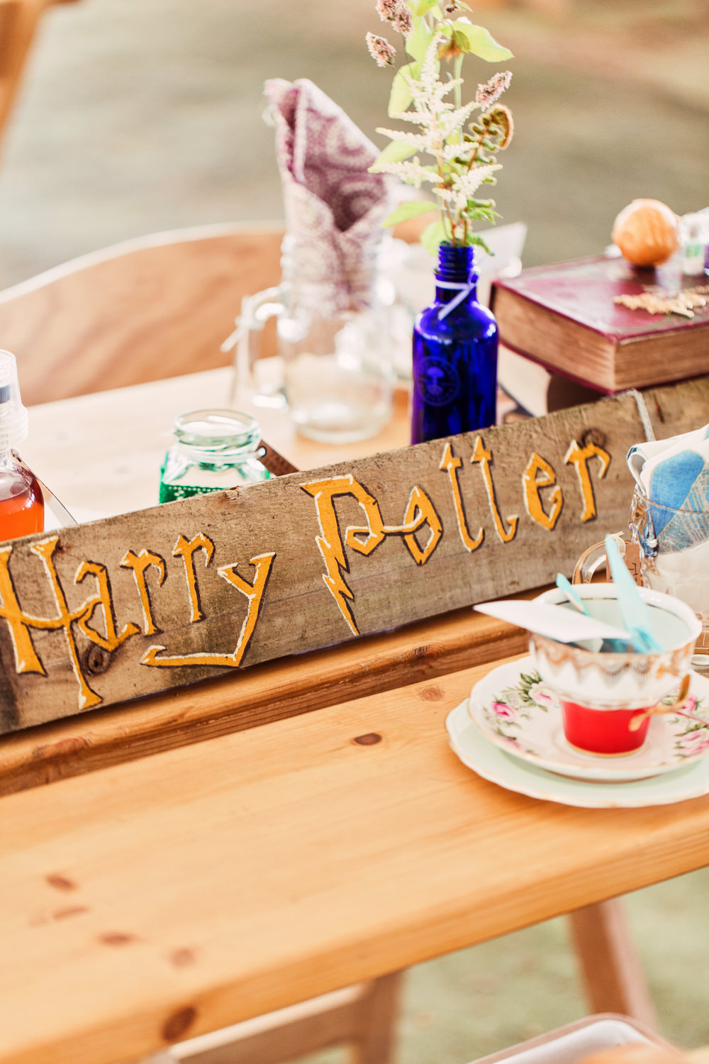 Harry Potter Handpainted Table Sign Vintage Tea Set China Festival Wedding Mismatched Country Camilla Lucinda Photography
