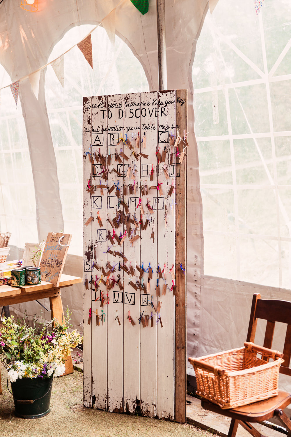 Hand Painted Table Plan Flag Wooden Festival Wedding Mismatched Country Camilla Lucinda Photography