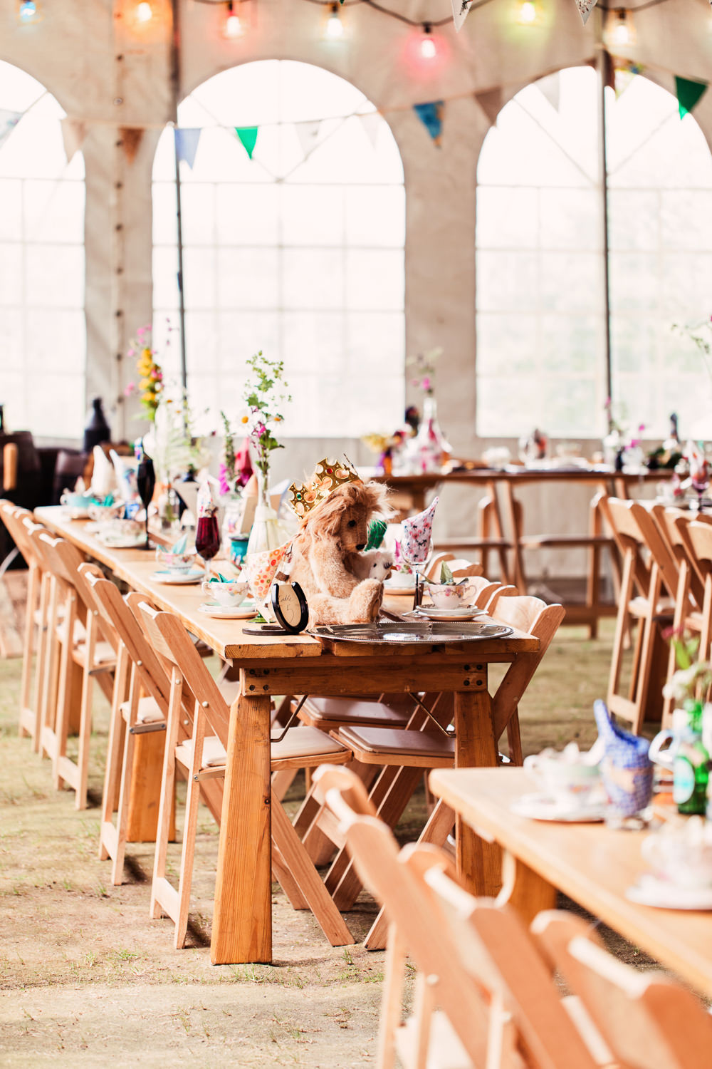 Table Setting Bunting Flowers Themed Festival Wedding Mismatched Country Camilla Lucinda Photography