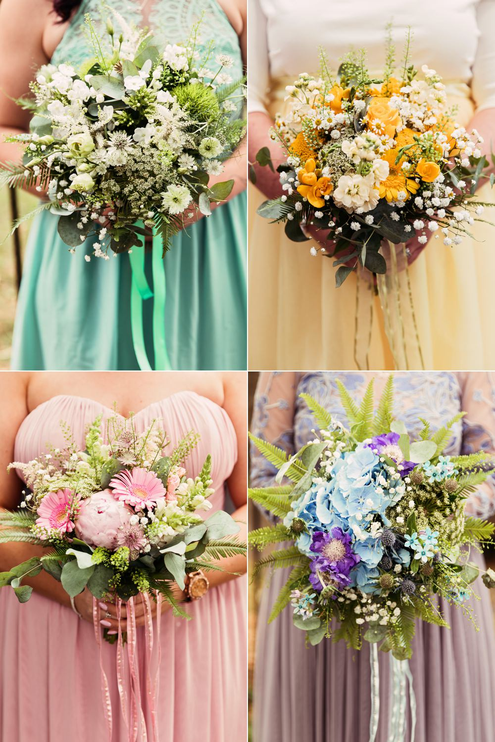 Rainbow Multicolour Bouquets Bridesmaids Dresses Flowers Pastel Pretty Festival Wedding Mismatched Country Camilla Lucinda Photography