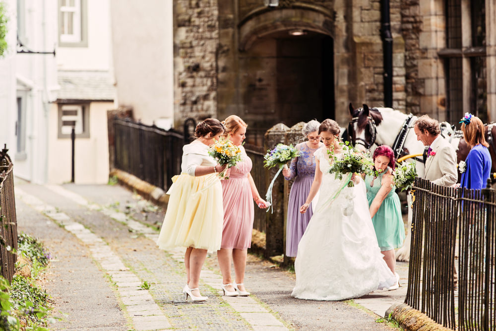 Bride Bridal Bespoke Dress Cape Sweetheart Neckline A Line Lace Purple Yellow Pink Green Bridesmaids Festival Wedding Mismatched Country Camilla Lucinda Photography