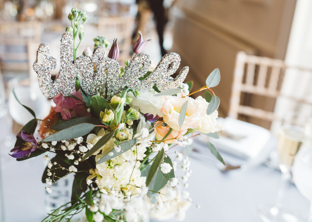 Silver Glitter Table Number George Rye Wedding Hollie Carlin Photography