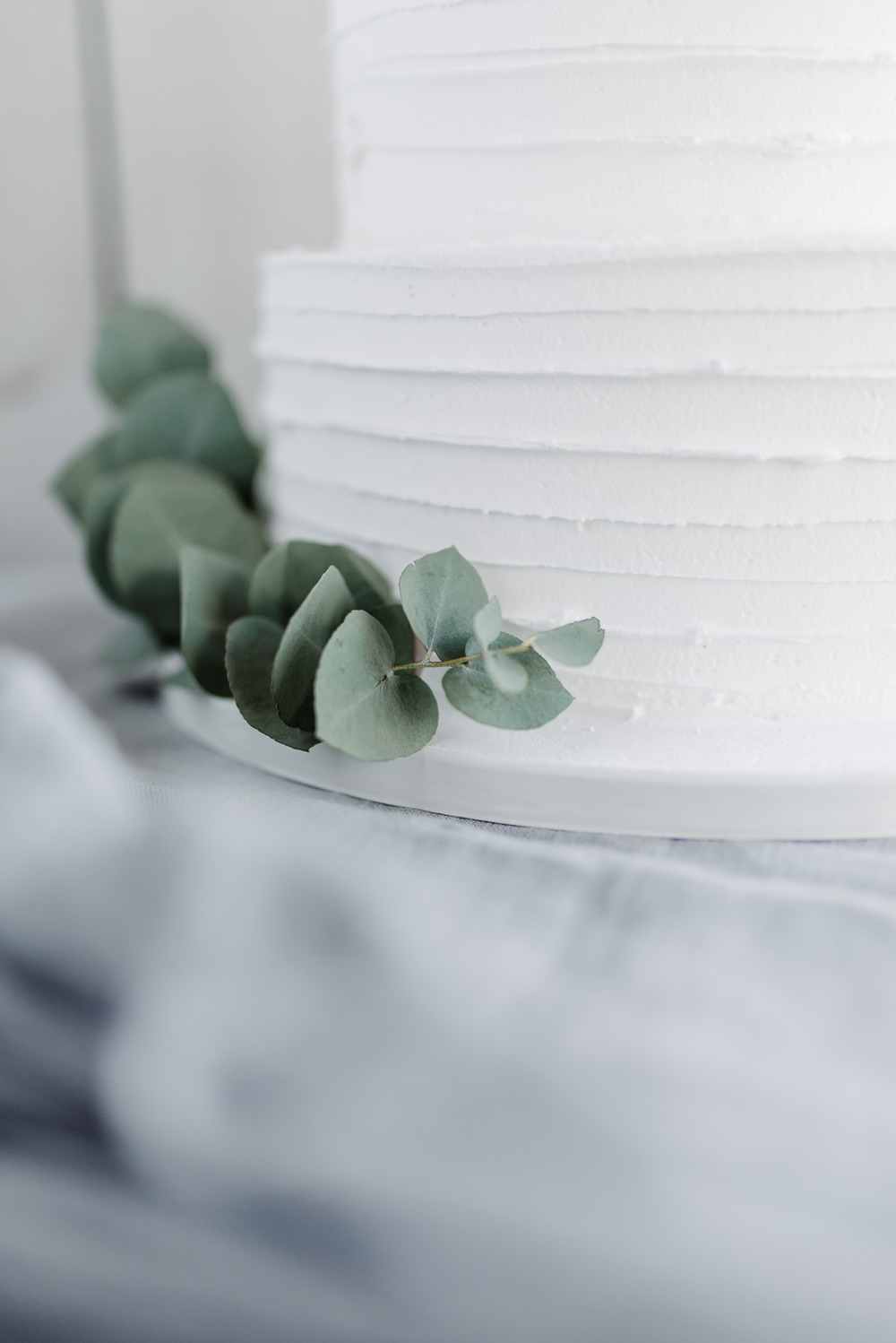 White Buttercream Iced Cake Foliage Eucalyptus Grey Violet Wedding Ideas Chloe Ely Photography