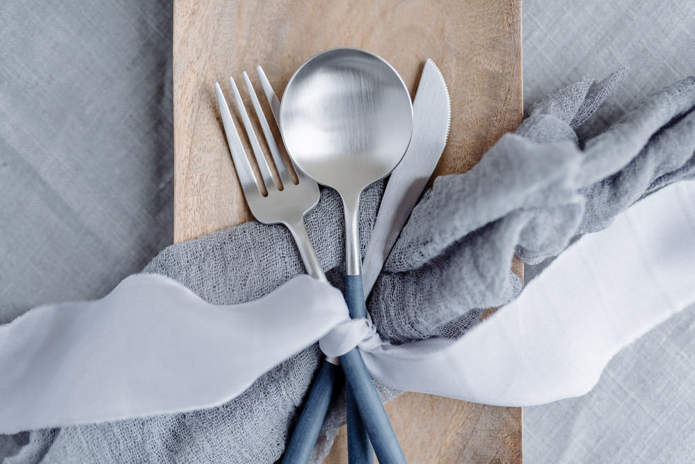 Cutlery Utensils Ribbon Silk Grey Violet Wedding Ideas Chloe Ely Photography