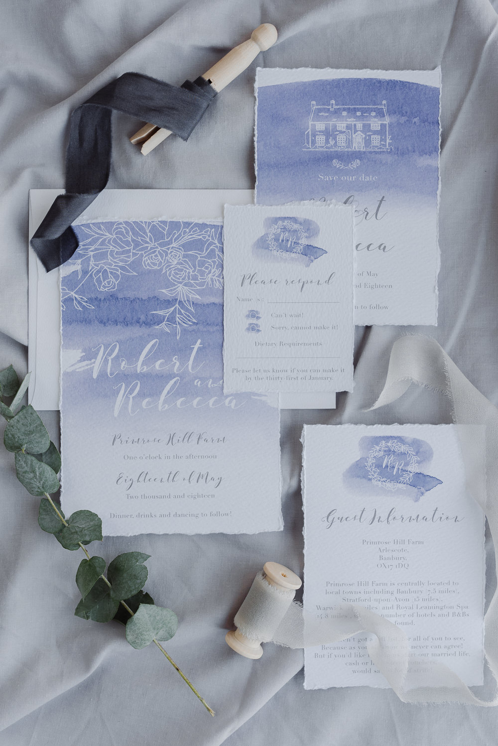 Watercolour Purple Lilac Stationery Invitation Invite Suite Grey Violet Wedding Ideas Chloe Ely Photography