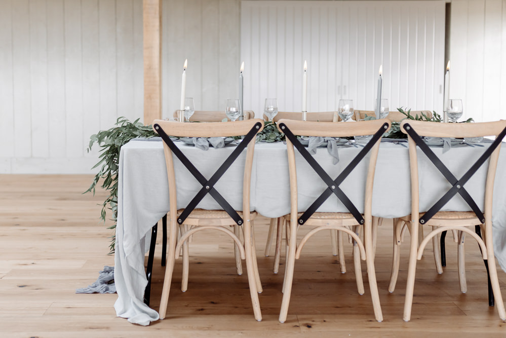 Cross Back Wooden Chairs Modern Table Grey Violet Wedding Ideas Chloe Ely Photography