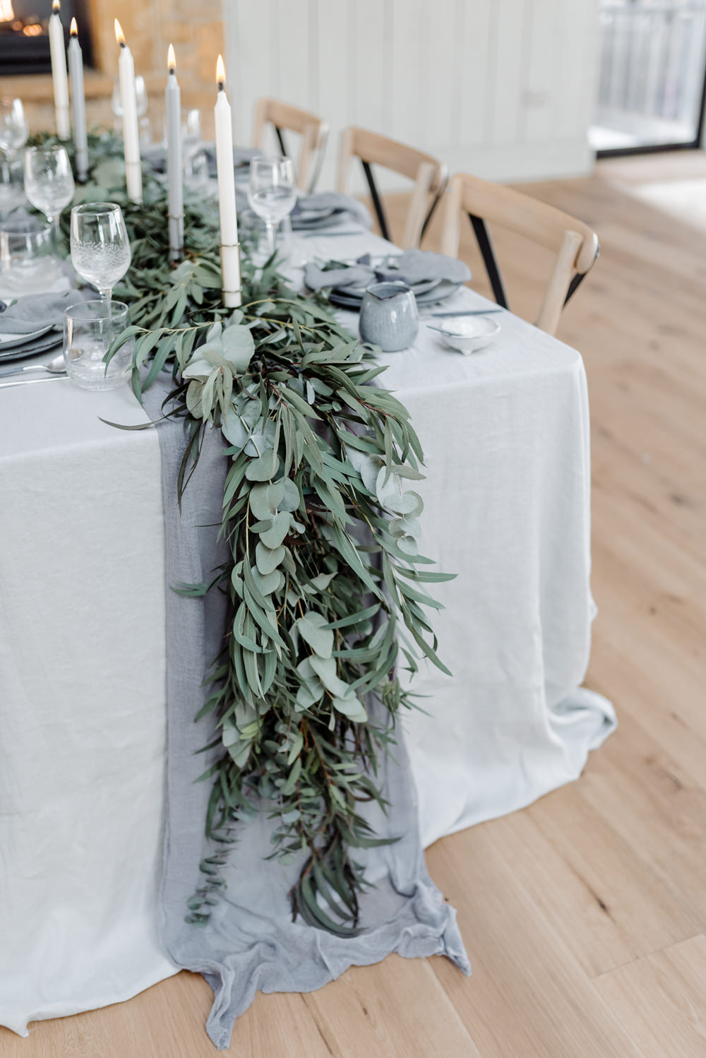 Eucalyptus Greenery Foliage Runner Table Tablescape Linen Garland Ribbons Candles Grey Violet Wedding Ideas Chloe Ely Photography