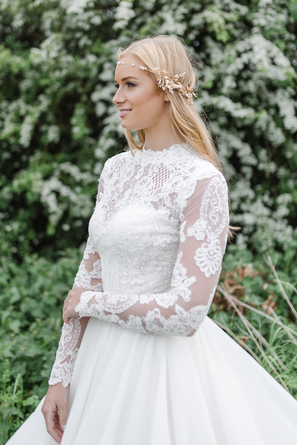 Lace Dress Gown Bride Bridal Sleeves Skirt Train Grey Violet Wedding Ideas Chloe Ely Photography