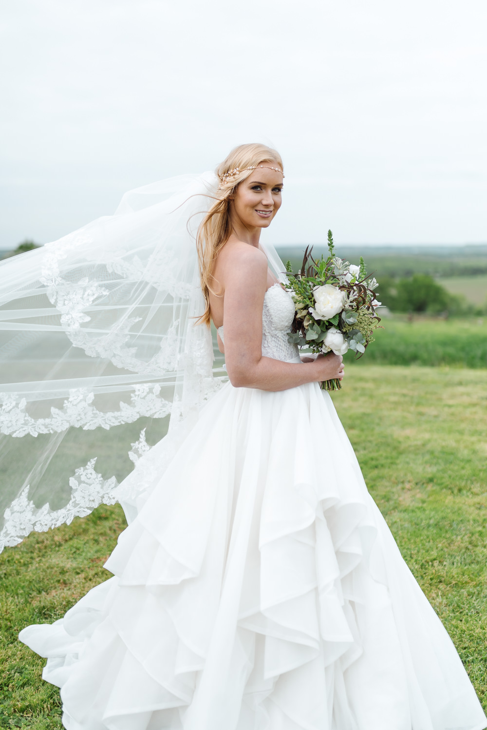 Dress Gown Bride Bridal Skirt Strapless Veil Grey Violet Wedding Ideas Chloe Ely Photography