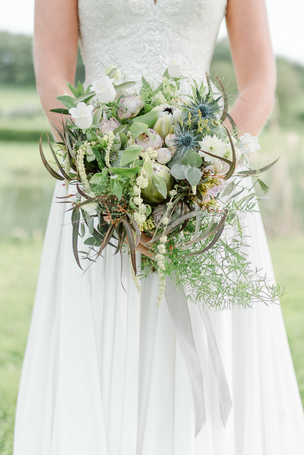 Bouquet Flowers Bride Bridal Thistle Peony Pink Peonies Protea Greenery Foliage Grey Violet Wedding Ideas Chloe Ely Photography