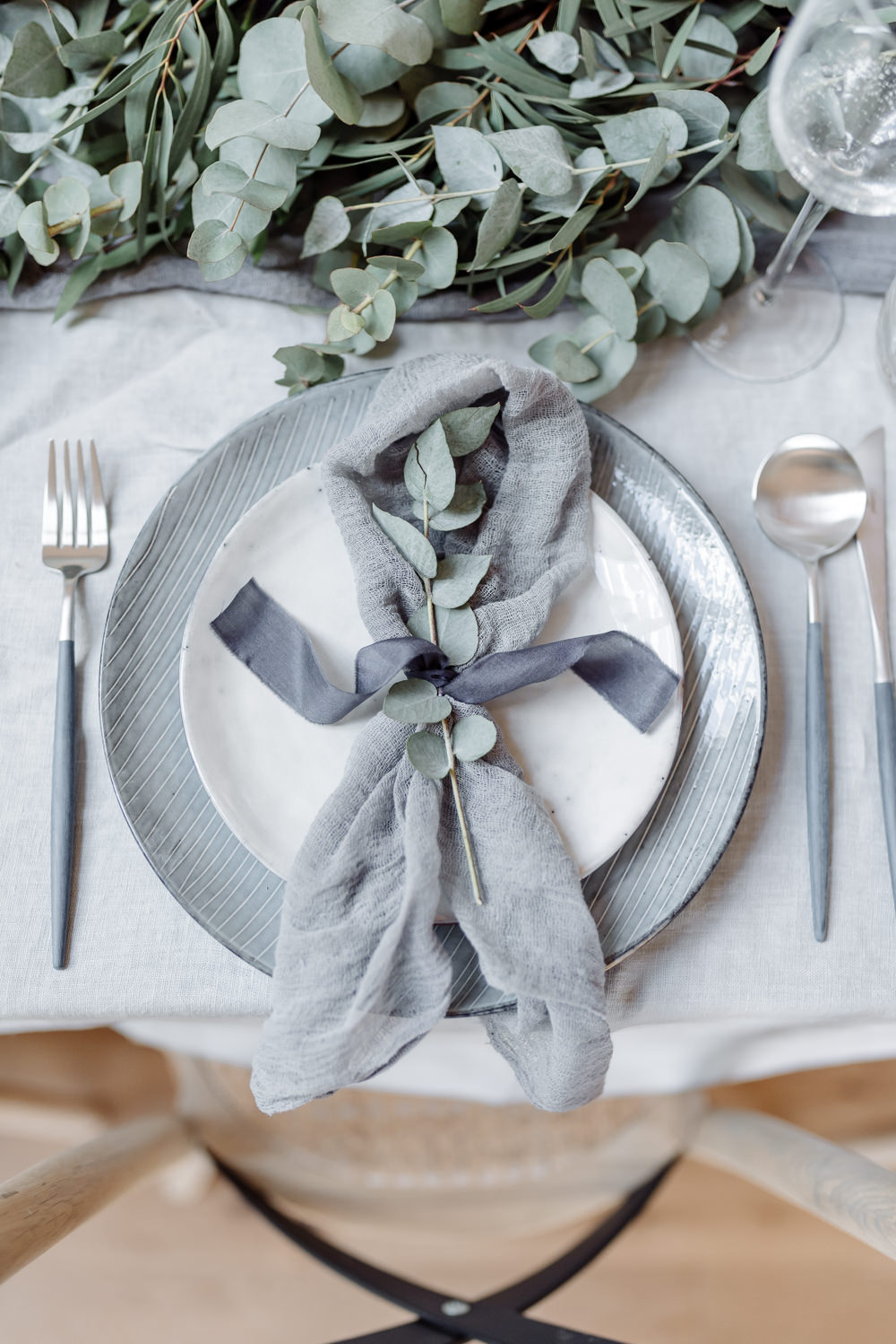 Place Setting Table Plates Cutlery Greenery Foliage Eucalyptus Ribbon Silk Napkin Grey Violet Wedding Ideas Chloe Ely Photography
