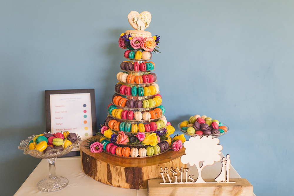 Colourful Multicolour Rainbow Macaron Tower Cake Topper Dog Table Hothorpe Hall Woodlands Wedding Lucy Long Photography