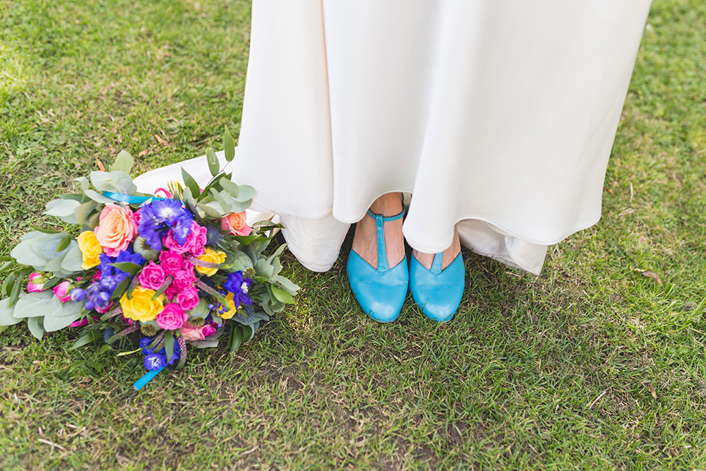 Blue Shoes Bride Bridal T Bar Hothorpe Hall Woodlands Wedding Lucy Long Photography