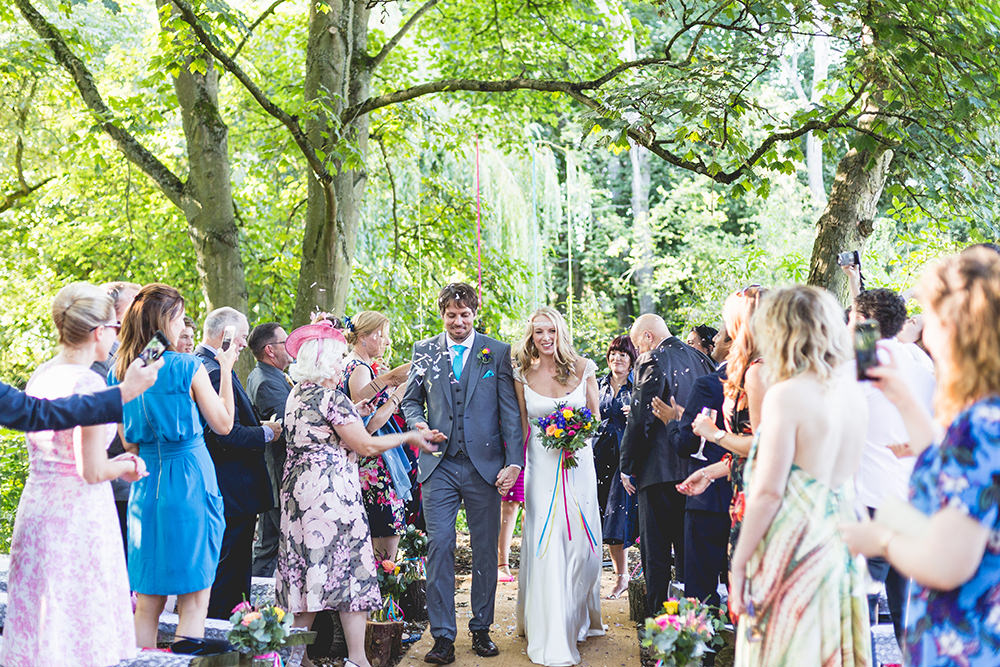 Confetti Throw Aisle Hothorpe Hall Woodlands Wedding Lucy Long Photography