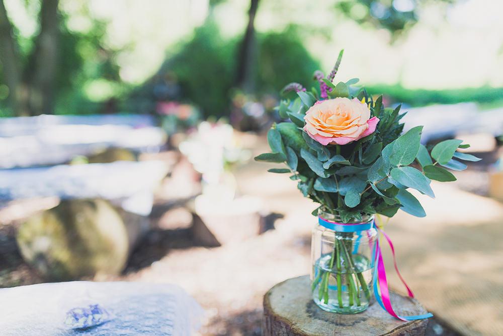 Jar Flowers Ribbons Log Stump Ceremony Aisle Hothorpe Hall Woodlands Wedding Lucy Long Photography