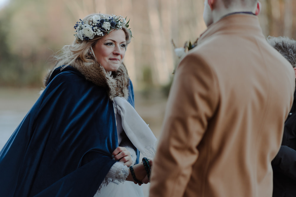 Forest Trees Castle Loch Bride Blue Dress White Bouquet Floral Crown Cape Father Ceremony   Intimate Winter Outdoor Scotland Wedding Christopher Ian Photography