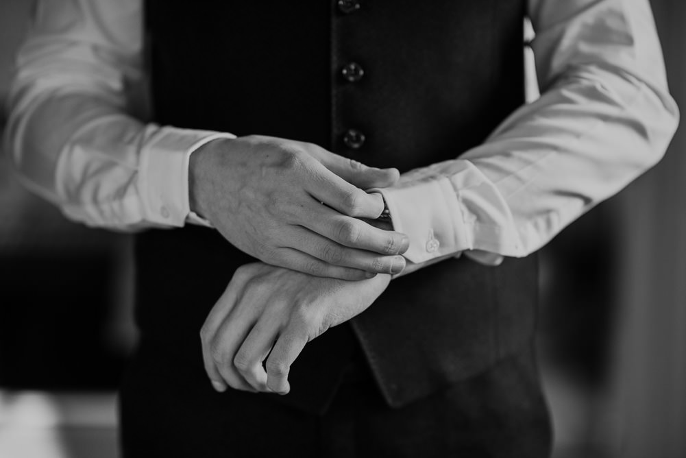 Forest Trees Castle Loch Blue Waistcoat Tie Groom Morning Prep   Intimate Winter Outdoor Scotland Wedding Christopher Ian Photography