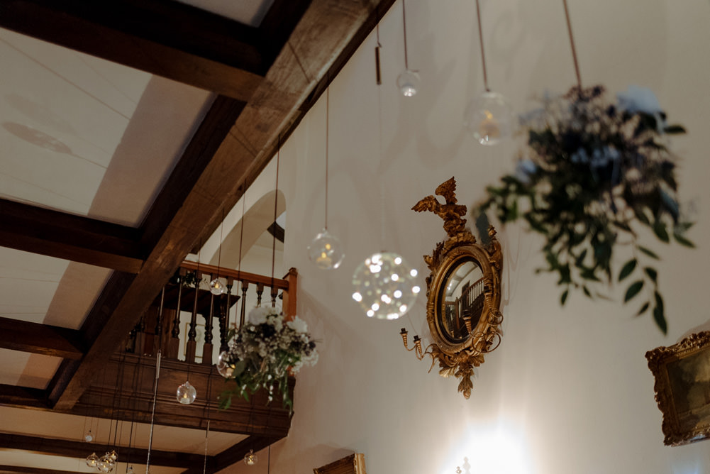 Forest Trees Castle Loch Simple Decor Greenery Fairy Lights Hanging Flowers   Intimate Winter Outdoor Scotland Wedding Christopher Ian Photography