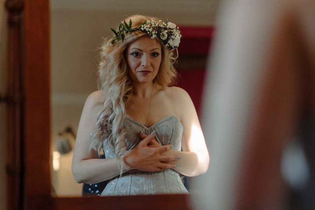 Forest Trees Castle Loch Blue Bride Dress Floral Crown Corset Morning Prep   Intimate Winter Outdoor Scotland Wedding Christopher Ian Photography
