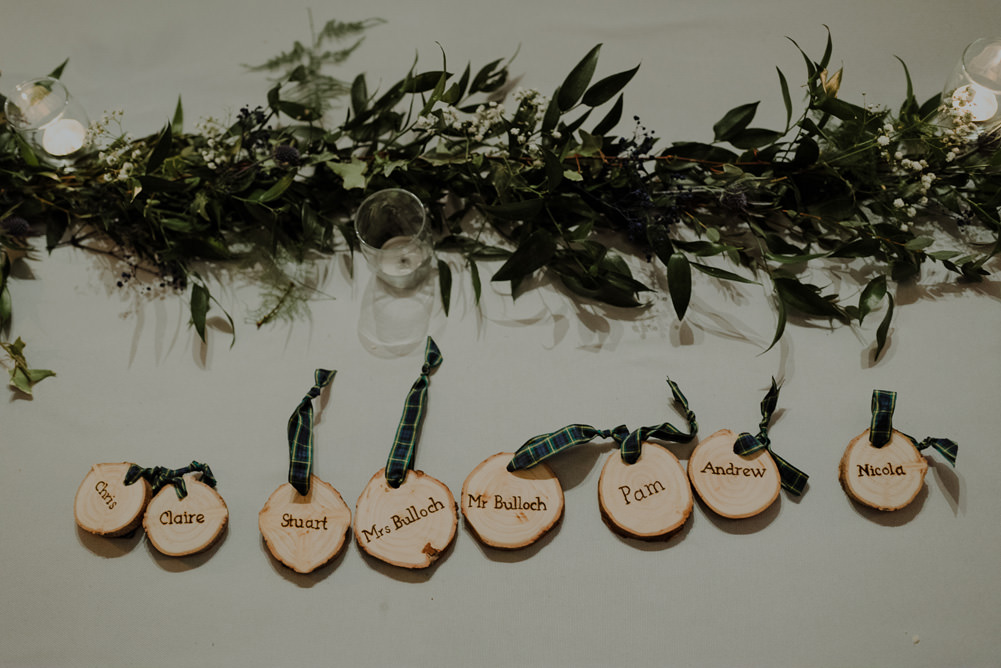 Forest Trees Castle Loch Simple Decor Greenery Fairy Lights Garland Runner Table Blue White Place Cards   Intimate Winter Outdoor Scotland Wedding Christopher Ian Photography