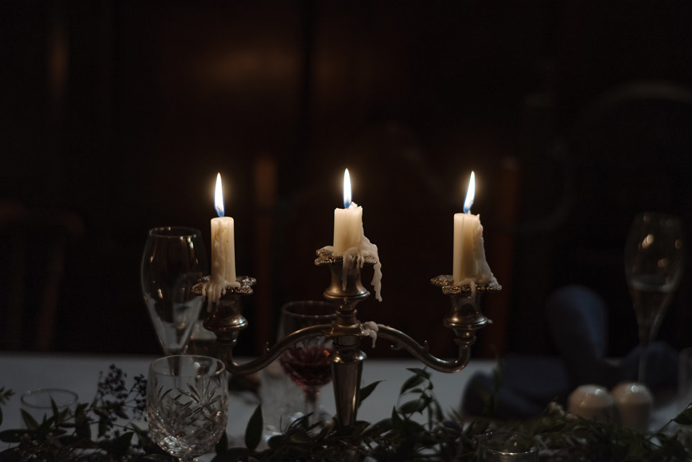 Forest Trees Castle Loch Simple Decor Greenery Fairy Lights Garland Runner Table Blue White   Intimate Winter Outdoor Scotland Wedding Christopher Ian Photography