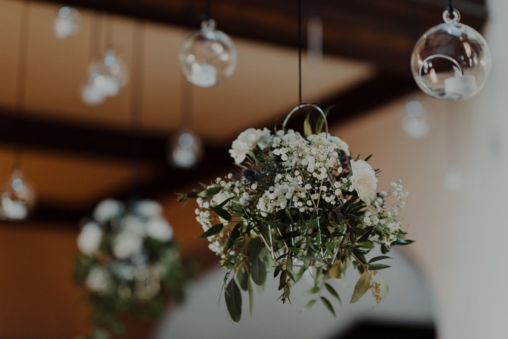Forest Trees Castle Loch Simple Decor Greenery Fairy Lights Garland Hanging Flowers White   Intimate Winter Outdoor Scotland Wedding Christopher Ian Photography