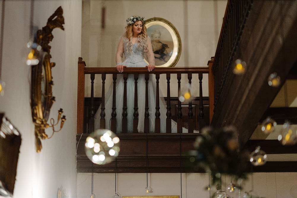 Forest Trees Castle Loch House Bride Blue Corset Bespoke Gown Fairy Lights   Intimate Winter Outdoor Scotland Wedding Christopher Ian Photography