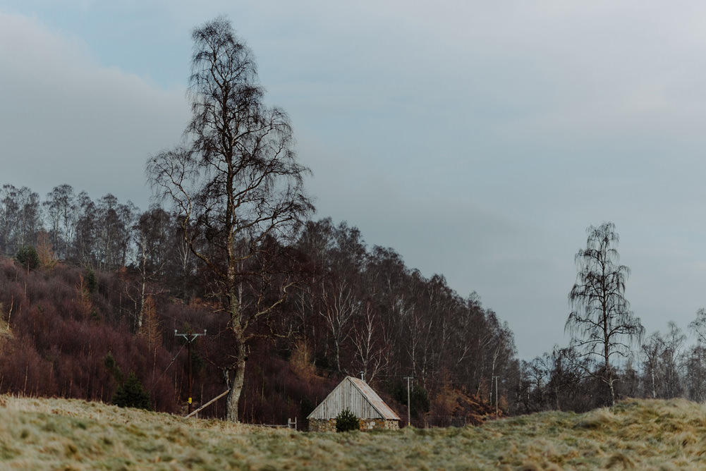 Forest Trees Castle Loch House Dramatic Landscape | Intimate Winter Outdoor Scotland Wedding Christopher Ian Photography