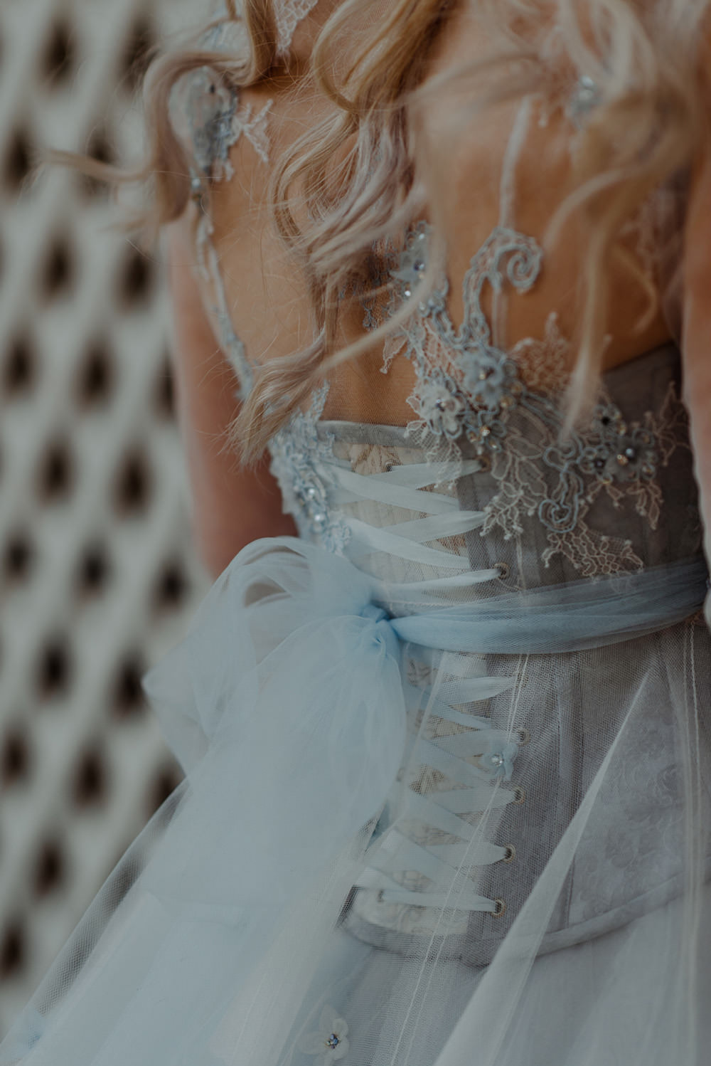 Forest Trees Castle Loch House Bride Blue Corset Bespoke Gown   Intimate Winter Outdoor Scotland Wedding Christopher Ian Photography