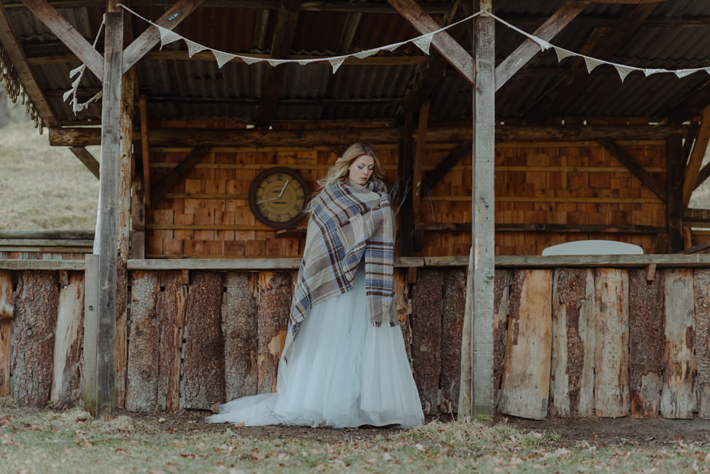 Forest Trees Castle Loch House Bride Blue Corset Bespoke Gown House Antlers Blanket | Intimate Winter Outdoor Scotland Wedding Christopher Ian Photography