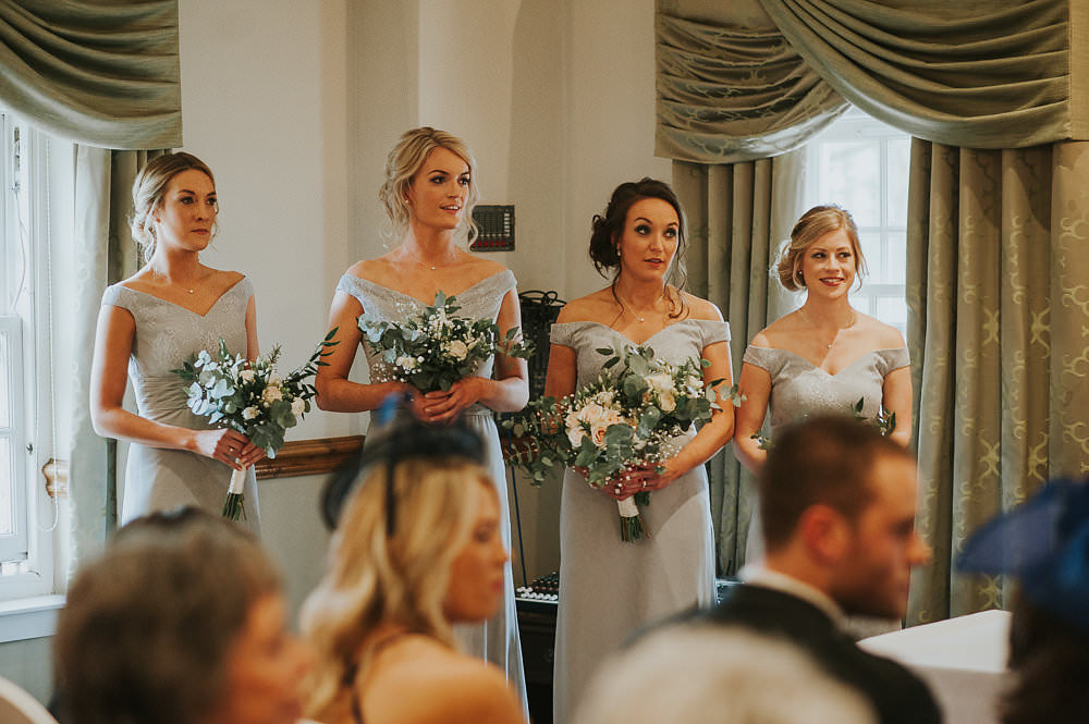 Bridesmaids Grey Off the Shoulder Dress Eucalyptus Gypsophila Macdonald Houston Hotel Wedding Martin Venherm Photography