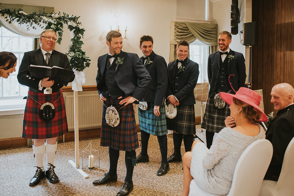 Groom Groomsmen Kilt Tartan Jacket Waistcoat Bow Tie Sporran Macdonald Houston Hotel Wedding Martin Venherm Photography