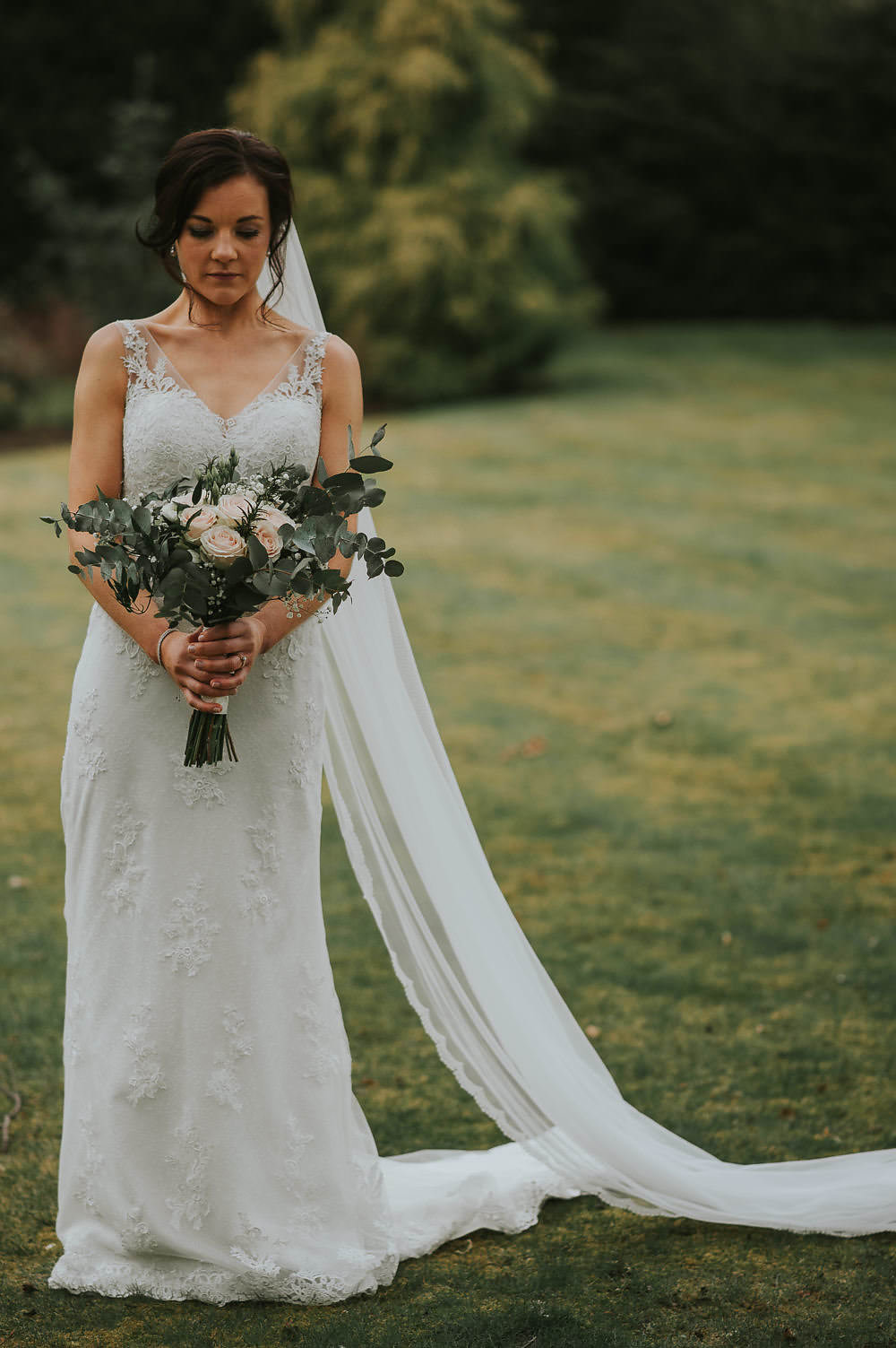 Bride Bridal Lace Sweetheart Neckline Straps Sleeveless Cathedral Veil Bouquet Eucalyptus Macdonald Houston Hotel Wedding Martin Venherm Photography