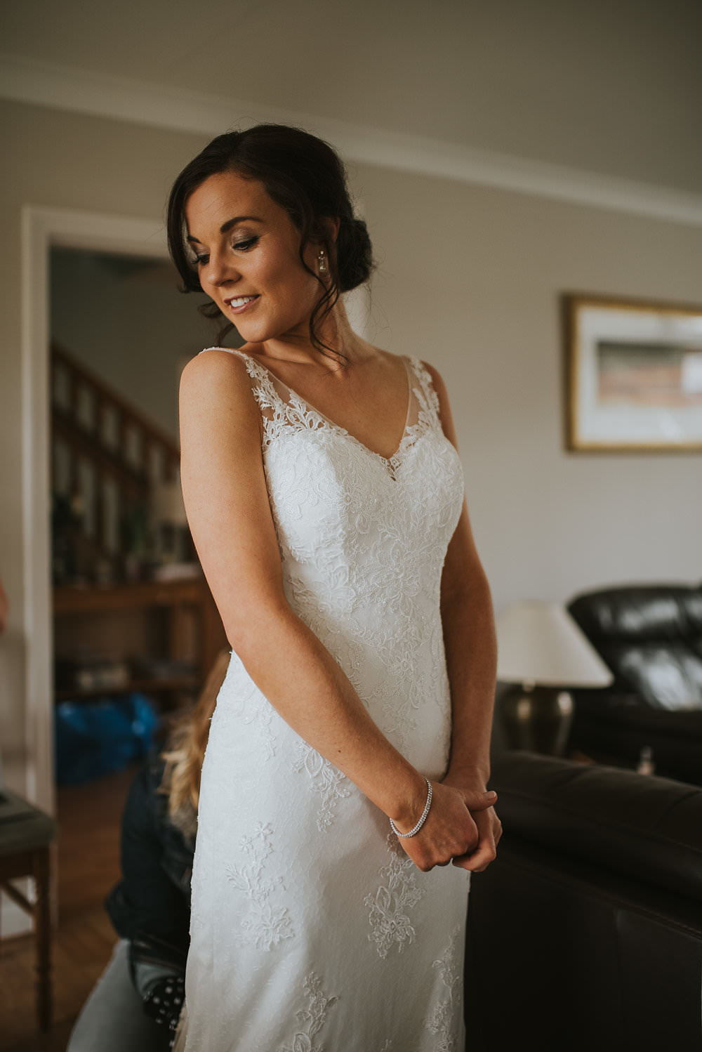 Bride Bridal Lace Sweetheart Neckline Straps Sleeveless Macdonald Houston Hotel Wedding Martin Venherm Photography