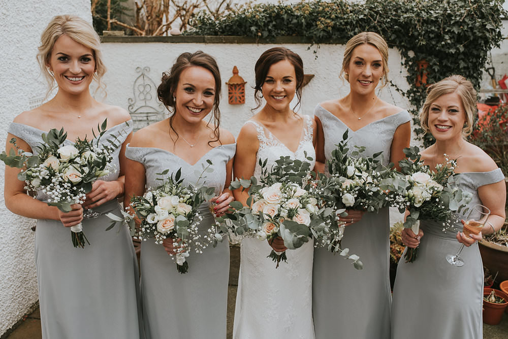 Bride Bridal Lace Sweetheart Neckline Straps Sleeveless Cathedral Veil Off the Shoulder Grey Bridesmaids Bouquet Eucalyptus Pink Peach Rose Gypsophila Macdonald Houston Hotel Wedding Martin Venherm Photography