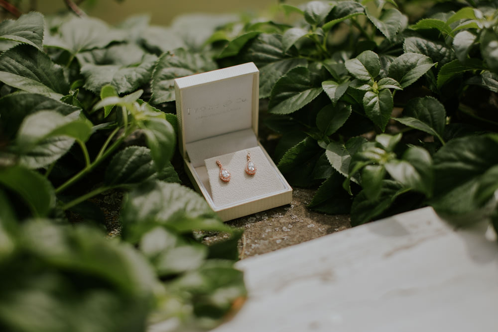 Rose Gold Earrings Bride Bridal Middleton Lodge Wedding Jamie Sia Photography