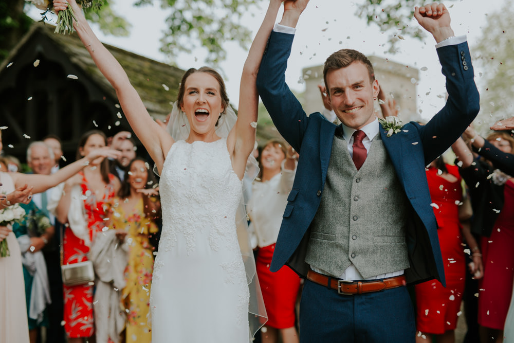 Confetti Just Married Bride Groom Middleton Lodge Wedding Jamie Sia Photography