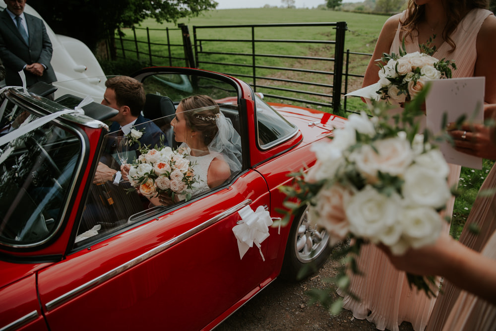 Red Convertable Car Classic Transport Middleton Lodge Wedding Jamie Sia Photography
