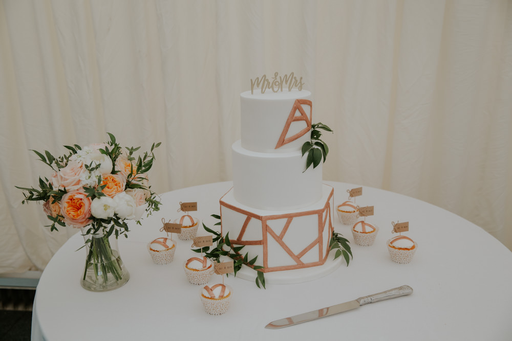 Copper Brass Geometric Cake Flowers Middleton Lodge Wedding Jamie Sia Photography
