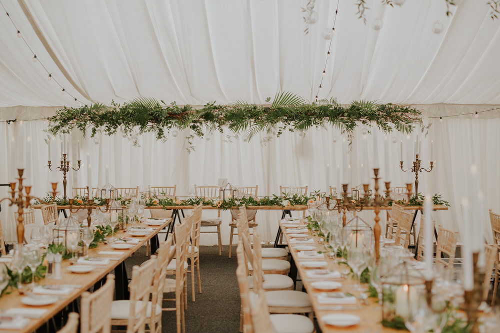 Marquee Botanical Greenery Foliage Suspended Decor Festoon Lights Brass Copper Details Tables Middleton Lodge Wedding Jamie Sia Photography