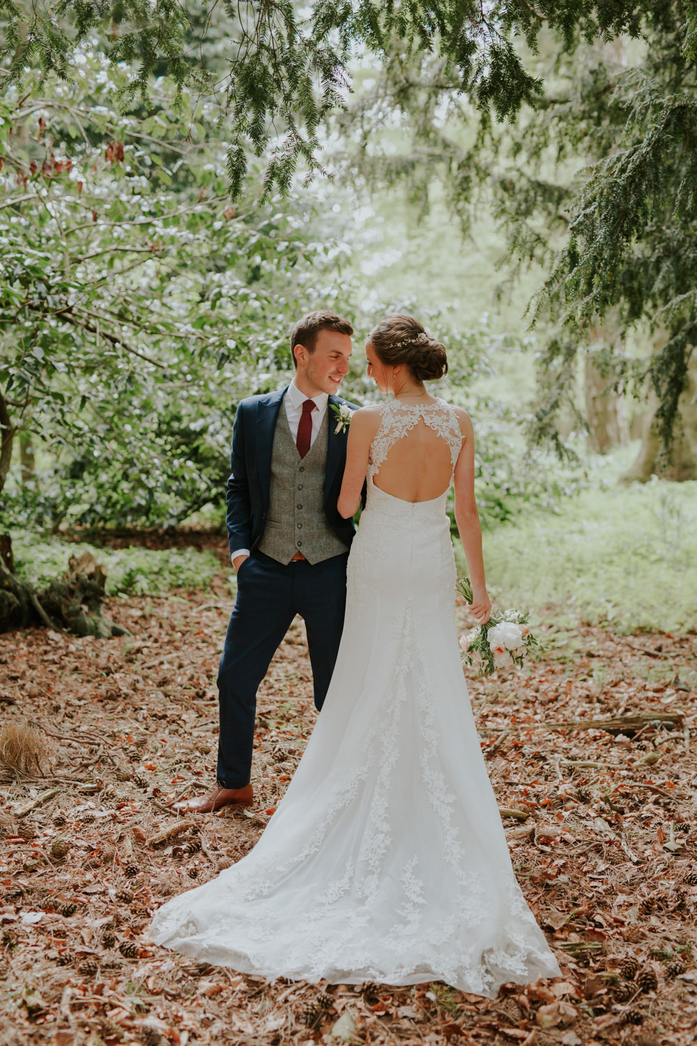 Dress Gown Bride Bridal Lace Train Keyhole Back Enzoani Middleton Lodge Wedding Jamie Sia Photography