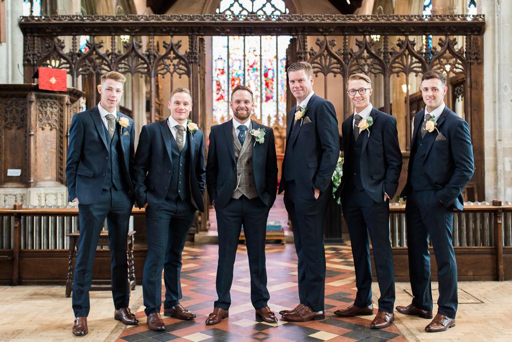 Groom Groomsmen Waistcoat Navy Suit Moreves Barn Wedding Gemma Giorgio Photography