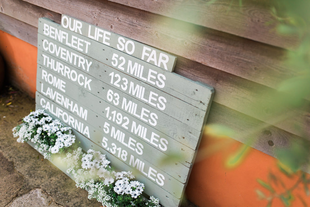 Sign Signage Distance Flower Trough Moreves Barn Wedding Gemma Giorgio Photography