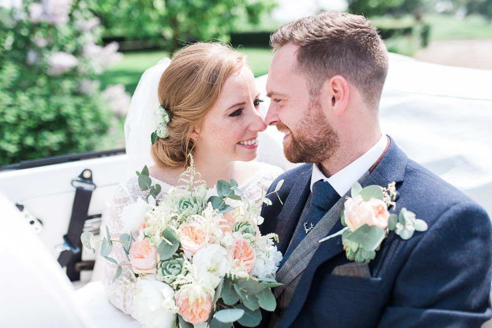 Bride Bridal Maggie Sottero Lace Long Sleeves A Line Navy Groom Suit Peach Rose Peony Eucalyptus Bouquet Moreves Barn Wedding Gemma Giorgio Photography