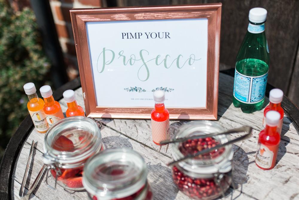 Pimp Your Prosecco Station Moreves Barn Wedding Gemma Giorgio Photography